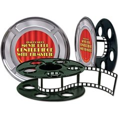 This Movie Reel Centerpiece is the perfect decoration for your awards night or Hollywood themed party or event. Add our movie reel with filmstrip centerpiece to your table and you are sure to win an award. Size: X 1 per package Movie Reels, Film Reels, Movie Reel Decor, Movie Film, Hollywood Party, Hollywood Glamour, Hollywood Wedding, Party Table Decorations, Party Centerpieces