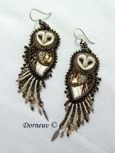 Beaded owl earrings | repinned by weememories (weememories.net)