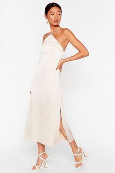 Halter Dress Formal, White Halter Dress, Satin Midi Dress, Satin Dresses, Silk Dress, Dress Up, White Romper, Grad Dresses, Nice Dresses