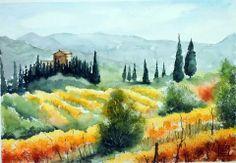 Watercolor landscape tuscan