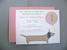 Dachshund Dog with Pink Balloon A2 Flat Note Birthday Invitations (Set of 10) on Etsy, $17.00