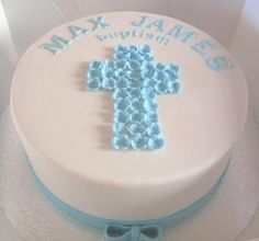 Christening Cakes On Lellow Baptism Blue White more at Recipins.com