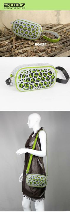 2087 designer hollow out two zips around waist bag in felt ---Gray, green and black felt;