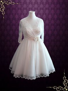 Vintage Style Tea Length Lace Wedding Dress With Sleeves | Sondra