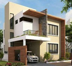Two floors house House Front Design, Modern House Design, Villa Design, Dream Home Design, Design Rumah, House Elevation, Front Elevation Designs, Spanish House, House Plans