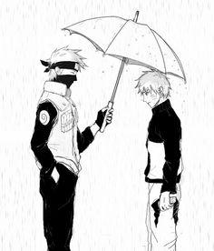 Kakashi and Naruto in rain