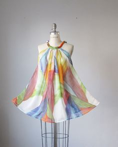 Digital printed silk top / Free style / Abstract  / White  / Dreamy / Romantic / Mini dress / tunic. $37.99, via Etsy.