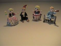 FOUR VINTAGE MINIATURE BONE CHINA NURSERY RHYME CHARACTERS