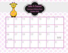Due Date Calendar // Baby Shower Game // Guess the Date   Due Date ...