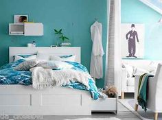 NEW-Ikea-Turquoise-Aqua-Blue-Duvet-Quilt-Cover-Set-3-pcs-MALIN-BLAD-King