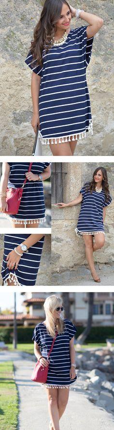 Navy Short Sleeve Tassel Striped T-Shirt Dress