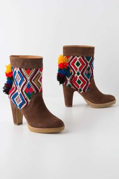 Pom Tapestry Mid-Boots | Anthropologie