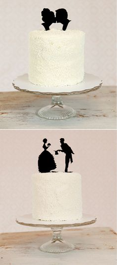 silhouette cake toppers, I like these. Not your traditional cake toppers Silhouette Wedding Cake, Silhouette Cake, Silhouette Artist, Vintage Silhouette, Wedding Events, Our Wedding, Dream Wedding, Wedding Bells, Weddings