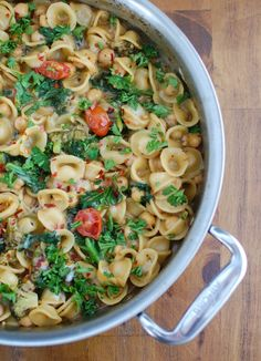 One Pot Kale Broccoli Chickpea Orecchiette Pasta mixes kale, broccoli, chickpeas, small orecchiette pasta and fresh parmesan cheese to create a protein packed, vegetarian dinner. You can feel good about putting this dish on the table for your family. // A Cedar Spoon