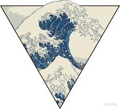 'The Great Wave off Kanagawa Geometry' Aufkleber von jncamilo Great Wave Off Kanagawa, Subtle Tattoos, Cool Tattoos, Pretty Tattoos, Tatoos, Redwood Tattoo, Minimalist Tattoo Meaning, Minimalist Tattoos, Wave Drawing
