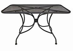 Oak Street Manufacturing OD3048 Rectangular Black Mesh Top Outdoor Table, 48″ Length x 30″ Width