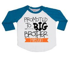 This Promoted to Big Brother shirt is the raddest way to make your familys announcement! Perfect shirt for photo session announcements! Dress your future Big Brother in style! Our American Apparel Raglan Shirts are so soft and cool that Big Brother will always want to wear his shirt. This shirt is guaranteed to make the future Big Brother excited about his new title! ►TO ORDER In the notes to seller section upon checkout, please let us know: 1. Date Needed ►Need to add a name and/or n...