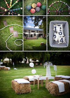 outdoor wedding reception games could be used for a fun party @ Wedding-Day-BlissWedding-Day-Bliss Wedding Party Games, Wedding Reception Games, Diy Wedding, Dream Wedding, Wedding Day, Reception Ideas, Reception Activities, Trendy Wedding, Reception Seating