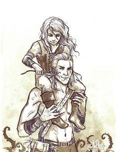 Un crayonné de Géralt de Riv et sa fille adoptive, Ciri : ) Facebook : www.facebook.com/Chane-2138455…
