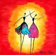 """""""African dancing Girls"""" by  Shruthi Sangem."""
