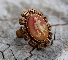 Vintage Aquairius Cameo Ring Zodiac Ring by Gener8tionsCre8tions, $45.00