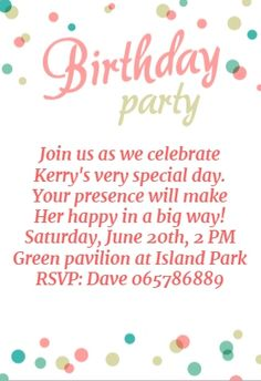 Free printable birthday invitations for kids freeprintables birthday party dots free printable birthday invitation template greetings island filmwisefo