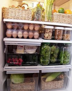 Organized fridge. Unsure about baskets in the fridge, but I like how organized this refrigerator is.