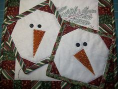 love these sweet snowmen faces from quilt doodle doodles