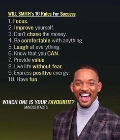 Which one is your favorite? Will Smith's 10 Rules … Which one is your favorite? Will Smith's 10 Rules For Success The post Which one is your favorite? Will Smith's 10 Rules … appeared first on Best Pins for Yours - Life Quotes Inspirational Quotes About Success, Success Quotes, Great Quotes, Positive Quotes, Life Quotes, Motivational Videos, Work Quotes, Motivational Quotes For Success Positivity, Quotes Quotes