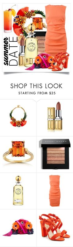 """""""Summer Date in Orange"""" by capricat ❤ liked on Polyvore featuring Elizabeth Cole, Elizabeth Arden, Annello, Bobbi Brown Cosmetics, Nicole Miller, Loeffler Randall and Paul Andrew"""