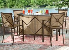 """Bar's open---come outside!"" Look forward to saying those words with these handsome weather-proof pieces from the Sun Prairie Collection: a glass-top bar with two storage shelves inside, and 4 matching bar chairs. Strong and sturdy. In-store and online. #shopko"