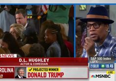 "DL Hughley: ""That campaign was based on hate,"" Hughley interrupted. ""America saw exactly who it was last night… Exactly who we are.""  ""I think Obama was what we aspire to be, Trump and his supporters are who we are,"" the comedian lamented. ""People said things, and those polls were so off and that meant that people were not being truthful. They said one thing and they did another.""  ""And that to me is the crux,"" he insisted. ""We have to accept who we are in order to evolve."""