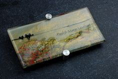 Donor Recognition Plaque - Fused and hand-painted glass 'Birds on a Wire'  - Gold, bronze and red color palette.