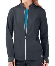 Who knew that keeping warm could look so cool! Shop for the UA Butter-Soft STRETCH Scrubs Zip Front Jacket only at Uniform Advantage. Uniform Advantage, Scrub Jackets, Stylish Jackets, Scrub Pants, Scrub Tops, Princess Seam, Jacket Style, Black Print, V Neck Tops
