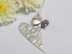 Expressionsstamped.com, modern textured necklace, double heart jewelry, seaglass love