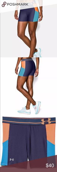UA HeatGear Armour Alpha Printed Women's Shorts Hot!   Compression: Ultra-tight, second skin fit. Super-light HeatGear® fabric delivers superior coverage without weighing you down  Signature Moisture