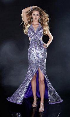 Halter Long/Floor-length Natural Sparkly Backless Prom Dress PD3848