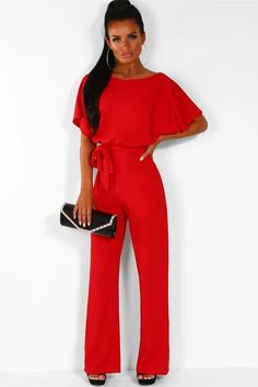 baf3da3d238b Short sleeve round neck long jumpsuit-Red