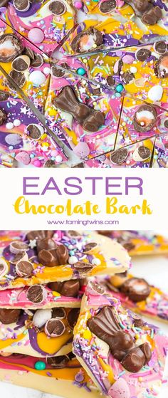 Chocolate Easter Bark with Candy & Malteaster Bunnies Show stopping Chocolate Easter Bark (with HOW TO VIDEO! Super simple and easy to make, topped with candy eggs, chocolates and sprinkles, this is a no bake, must make for Easter. Chocolate Bark, Easter Chocolate, Chocolate Sprinkles, Easter Candy, Easter Treats, Easter Gift, Easter Recipes, Dessert Recipes, Easter Baking Ideas