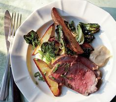 Roast Beef With Potatoes, Bok Choy, and Miso Mayo (no miso on hand, used seasame oil soy garlic vinegar and agave instead. Yum.
