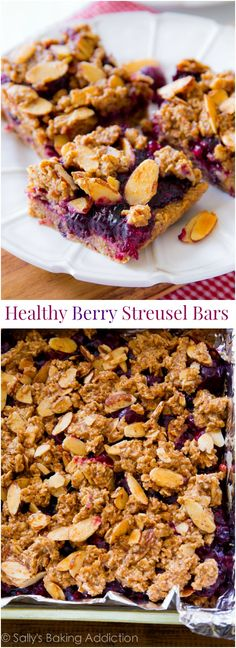 These healthy berry streusel bars are made with wholesome, healthy ingredients like oats, almond butter, and pure maple syrup. And they actually taste good, too!