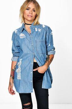 Ellie Oversized Ultra Distressed Denim Shirt