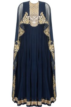 Navy floral embroidered cape anarkali set by Ridhi Mehra. Shop now: www.perniaspopupshop/designers/ridhi-mehra #shopnow #ridhimehra #perniaspopupshop