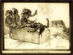 Esta es un imagen que muestra aztecas matando a otro azteca. Para ellos, esto era normal porque creían en los sacrificios humanos. La imagen se puede conectar con la narrativa, La Noche Bocca Arriba. El protagonista de la narrativa hablo sobre el sacrificio humano y sobre los Aztecas.