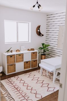 boho kid playroom decor with toy storage and activity table, kid room decor with play table, boho rug and kid room wallpaper, girl room decor, boy room decor Playroom Design, Kids Room Design, Playroom Decor, Playroom Organization, Ikea Kids Playroom, Modern Playroom, Decor Room, Wall Decor, Living Room Playroom