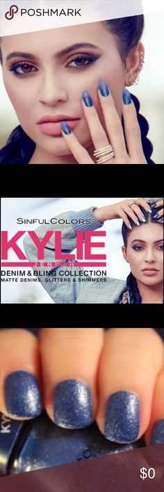 Sinful Colors KYLIE Denim & Bling Collection SinfulColors and Kylie Jenner have collaborated to provide daring colors that push the envelope with every stroke. Full size 0.5 fl oz. color: Kobalt from Kylie's Denim & Bling Collection. This heavy metal blue hue isn't just out of the blue. Bold, Vibrant, Must Have Color. One of Kylie's Faves. BRAND NEW. SinfulColors Makeup