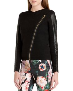 Leather sleeve biker jacket - Black | Knitwear | Ted Baker UK