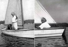 Albert Einstein sailing with Grete Lebach, 1937