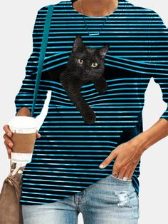 Cat Shirts, Dad To Be Shirts, Gato Animal, Manga Raglan, T Shirt Noir, Cat Dad, Plus Size T Shirts, Navy And Green, Navy Blue