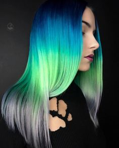 I die for my model today🙌🏻🙌🏻🙌🏻🙌🏻🙌🏻🙌🏻🙌🏻🙌🏻I love when exactly what I envision comes to life. My model Rachel helped me nail this pic of this color. Neon Hair Color, Blonde Color, Green Hair, Blue Hair, Violet Hair, White Hair, Blue Green, Pastel Hair, Ombre Hair